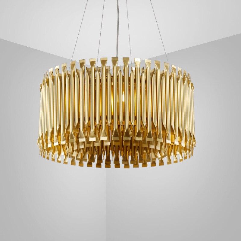 Nordic Алюминий светодиодный подвесной светильник золотой кулон свет Гостиная ресторан исследование Декор подвесной висячий светильник F046