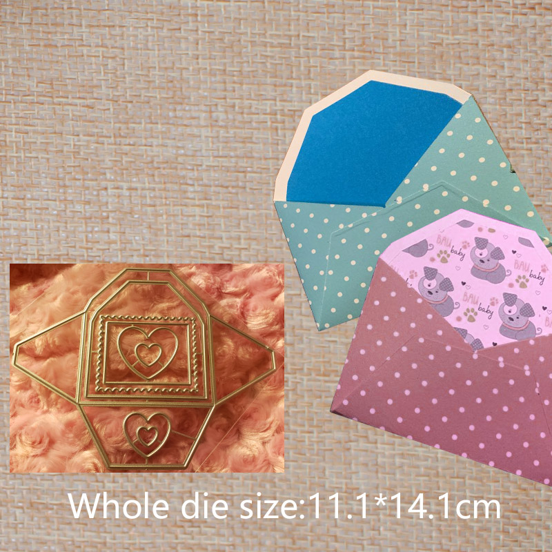 Heart metal cutting mold DIY clipboard envelope greeting card decoration craft stamping mold 111 141 mm in Cutting Dies from Home Garden