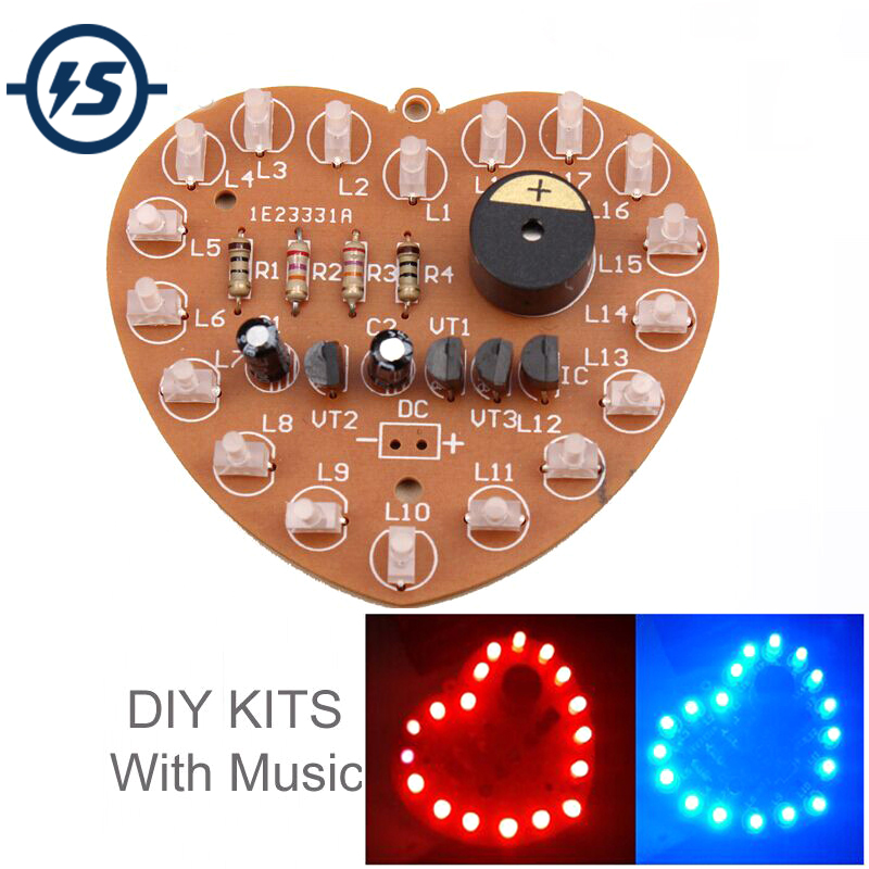DIY Flash Light Kits 18 LEDs Heart-Shaped Red Flashing Electronic Parts Gift VP