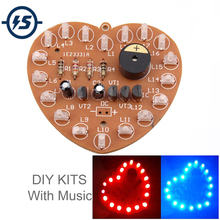 DIY Kit Music Flash Light Kits 18 LEDs Heart Shaped Red Green Dual Color Flashing Happy