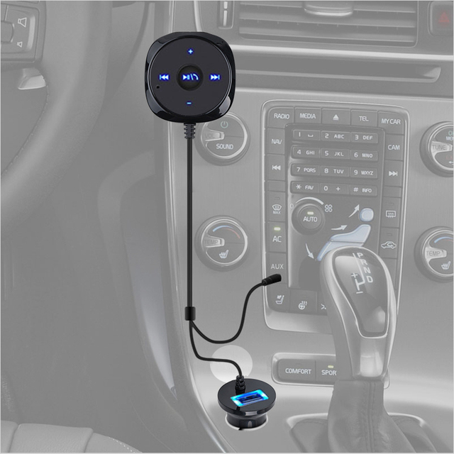 Bluetooth Aux Kit inalámbrico para coche receptor de música 3,5mm adaptador manos libres LED coche AUX altavoz con cargador de coche USB para teléfono 6 7 nuevo