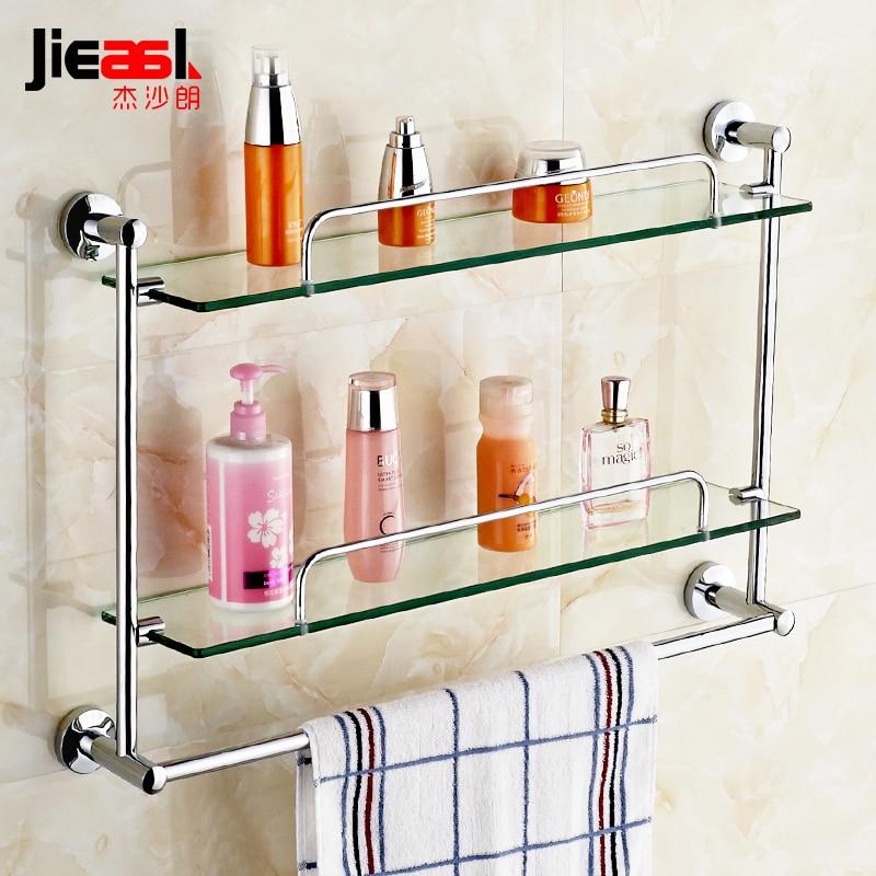 купить JSL Brass Bathroom Glass Shelf Finish With Tempered Glass,Bolt Inserting Type Single/Double Glass Shelf Bathroom Shelves 5600-1 недорого