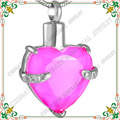 CMJ8072 Hold My Heart Stainless Steel Cremation Necklace Jewelry Pink Glass Elegant Ash pendant for women