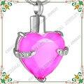 CMJ8072 Mantengo Mi Corazón de Acero Inoxidable Collar de Joyas de Cristal De Color Rosa Elegante Cenizas de Cremación colgante para las mujeres