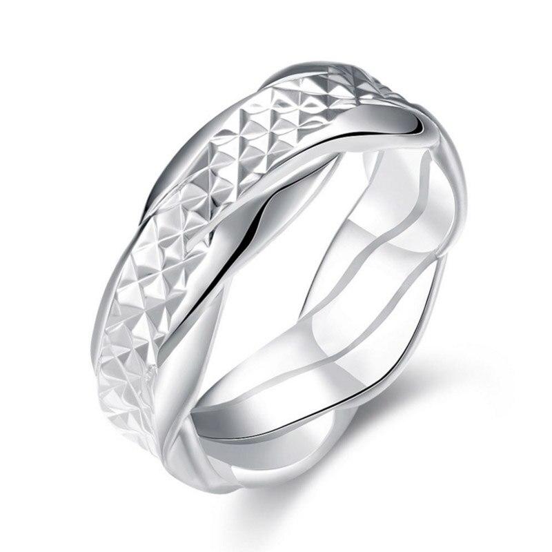 Очаровательная Современная Для женщин дамы Серебряный Цвет группа Твердые Любители Promise Ring
