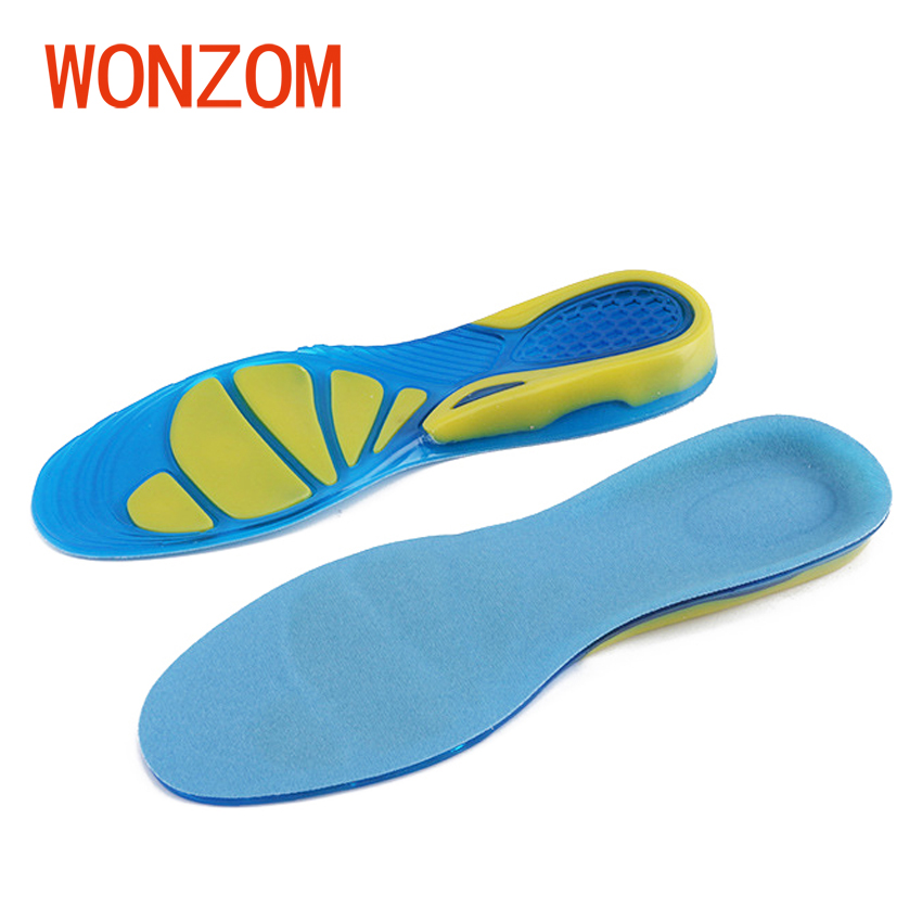 WONZOM 1 Pair Men Women Silicone Gel Insoles Breathable Shock Absorption For Running Sport Soft Cushion Comfortable Foot Care 2017 promotion gel insoles shock