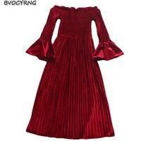 New Fashion Spring Fall Velour Dress Women Long Sleeve Pleated Elegant Velvet Dresses Slash Neck Sexy Maxi Vestido Girls A0133