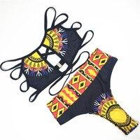 Bandage Swimwear Women 2017 New High Waist Bikini African Print Vintage Swimsuit Bathing Suit Two Piece