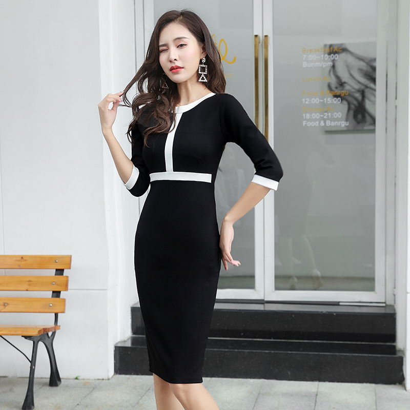 2019 Spring <font><b>Sexy</b></font> Party <font><b>Bodycon</b></font> <font><b>Dresses</b></font> <font><b>Women</b></font> Three-quarter Sleeve O Neck Vintage <font><b>Dresses</b></font> Office Vestidos Bandage Sheath <font><b>Dress</b></font> image