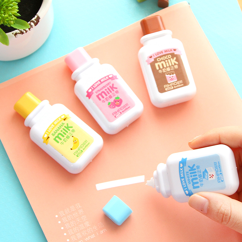 Kawaii Milk Bottle Colored Correction Tape Cute Kids Korea Stationery Novelty Pen Decoration