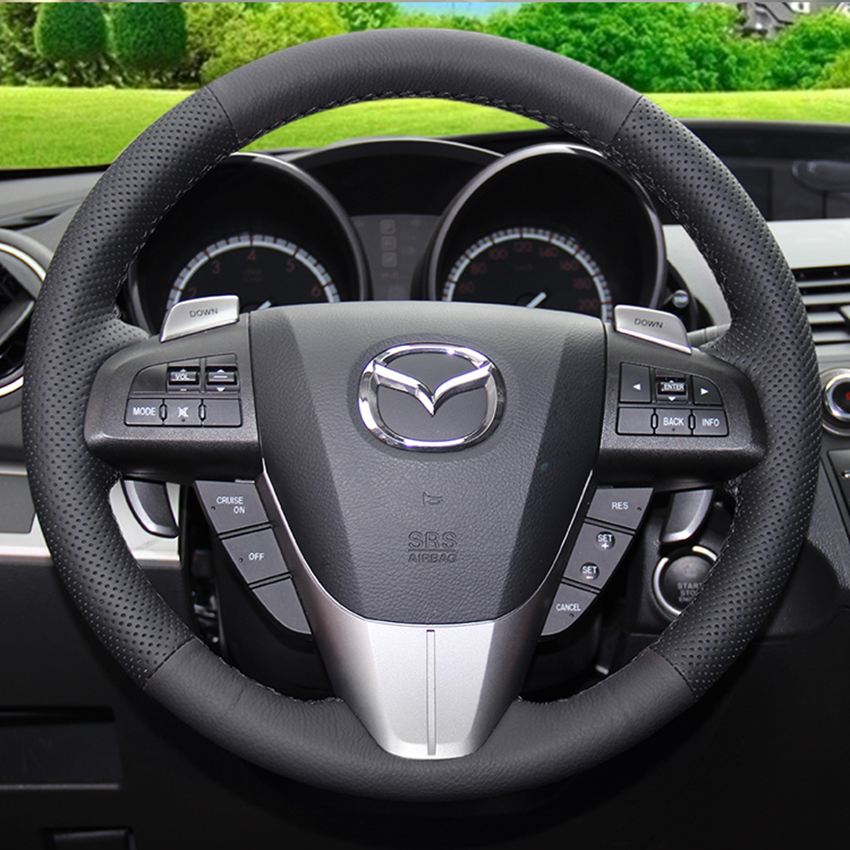 case for mazda 3 car steering wheel cover car styling cover genuine leather diy accessories. Black Bedroom Furniture Sets. Home Design Ideas