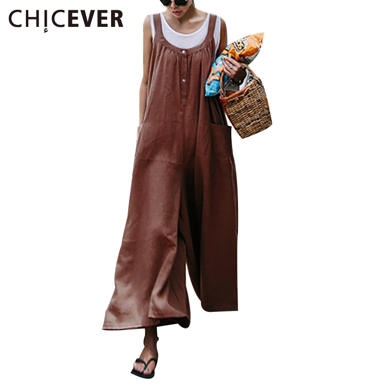CHICEVER Suspenders Rompers Womens Jumpsuit Sleeveless linen Summer Overalls Fashion Wide Leg Pants Female Trousers Plus Sizes