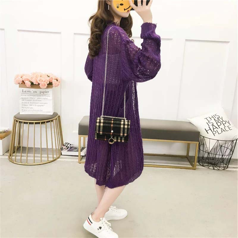 H.SA 2018 Women Long Spring Cardigans Hollow Out Knit Sweater Long Sleeve Open Stitch Oversized Jacket Knitwear Summer Cardigan
