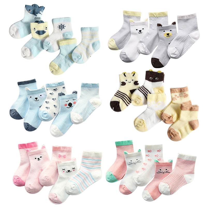 5Pairs/lot 2019 New Infant Baby Socks Summer Mesh Thin Baby Socks For Girls Cotton Newborn Boy Toddler Socks For 0~3 Year