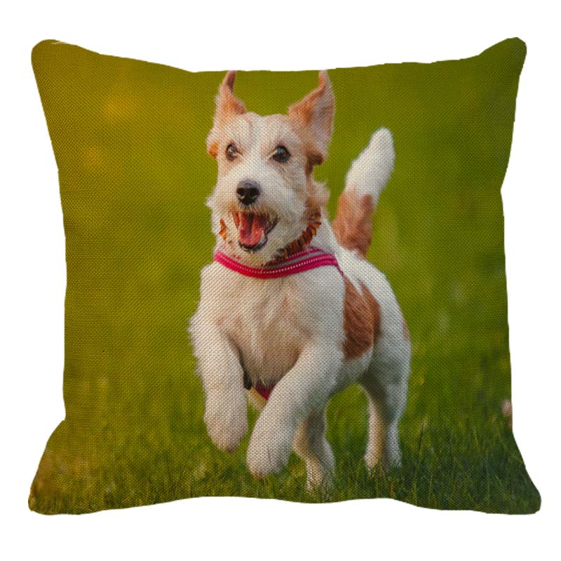 XUNYU Cute Jack Russell Terrier Pattern Linen Pillow Case Home Sofa Square Pillow Cover Dog Cushion Cover 45X45cm AC108