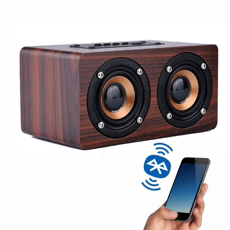 Retro classic Wooden Bluetooth stereo Speaker HIFI Wireless 3D Dual Loud speakers Surround Mini Portable altavoz USB Charging