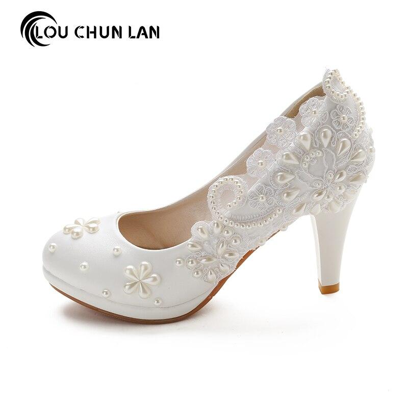 LOUCHUNLAN Woman Shoes Pumps Handmade Beading Pearl Flower Lace Wedding Shoes 8.5CM High Heels Fashion Elegant Ladies Shoes
