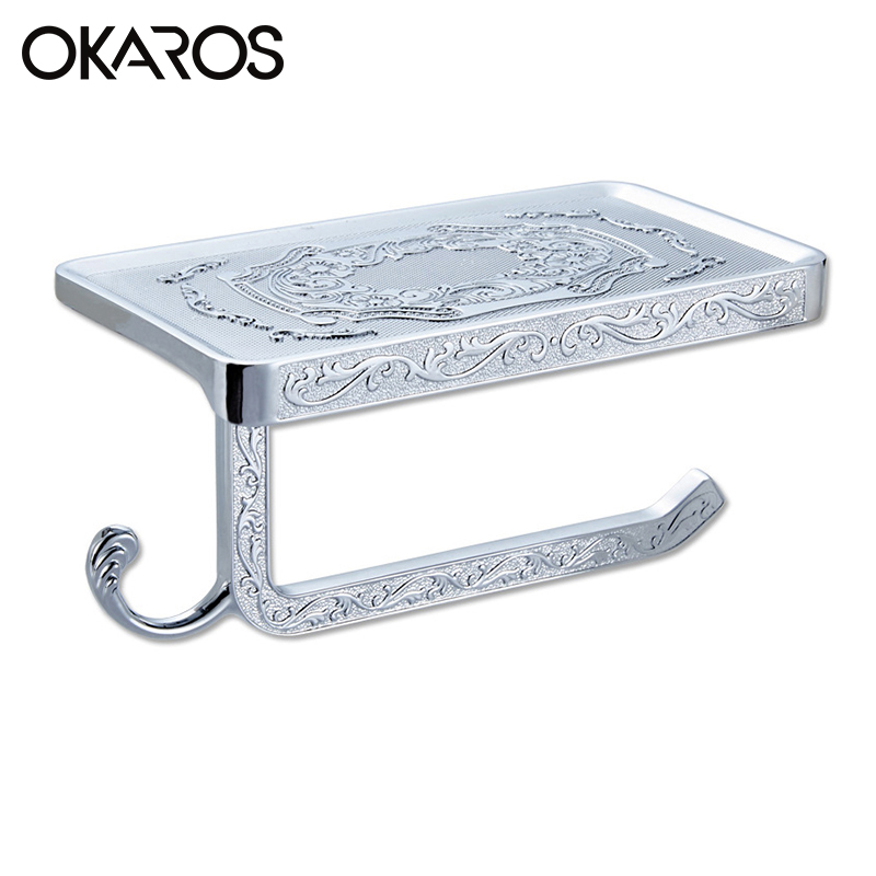 OKAROS Vintage Toilet Paper Holder With Phone Shelf Towel Roll Rack Phone Shelf  With Hooks Wall Mounted Toilet Paper G20