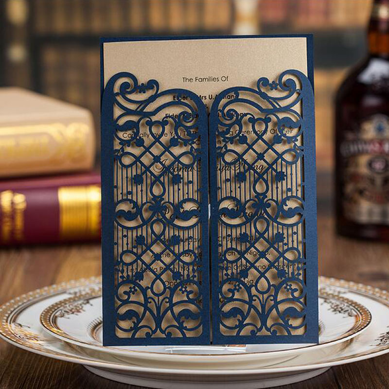 100pcs Blue Laser Cut Luxury Wedding Invitations Card Door Shaped Elegant Customize Printing Envelopes Party Supplies In Cards From