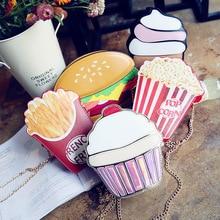 Creative Style Woman Hamburger Ice Cream Cupcake PU Chains bags Cute Cartoon Hamburger Popcorn Fries 3D Messenger Bags