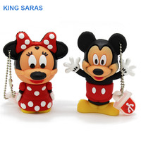 KING SARAS cartoon 4GB Mickey Minnie 2 style usb flash drive usb 2.0  8GB 16GB 32GB 64GB pendrive gift U disk