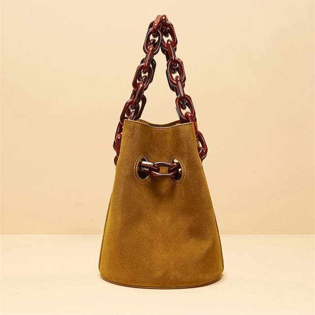 2d03ad1398 Bag Female 2018 Autumn and Winter New European and American Matte Bucket Bag  Acrylic Chain Shoulder Cross Body Bag