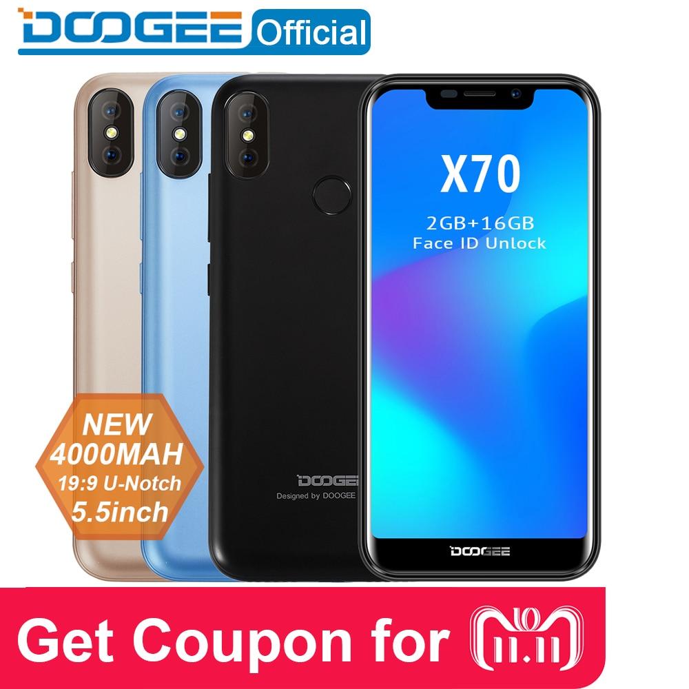 "2018 Новый DOOGEE X70 смартфон лицо 5,5 ""u-вырезка 19:9 MTK6580 4 ядра 2 ГБ Оперативная память 16 ГБ Встроенная память двойной Камера 8.0MP Android 8,1 4000 мАч"