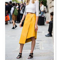Fall Summer Asymmtrical Fuax Leather Yellow Solid Americal Apparel Fashion Runway Midi Length Plus Size Woman Skirt