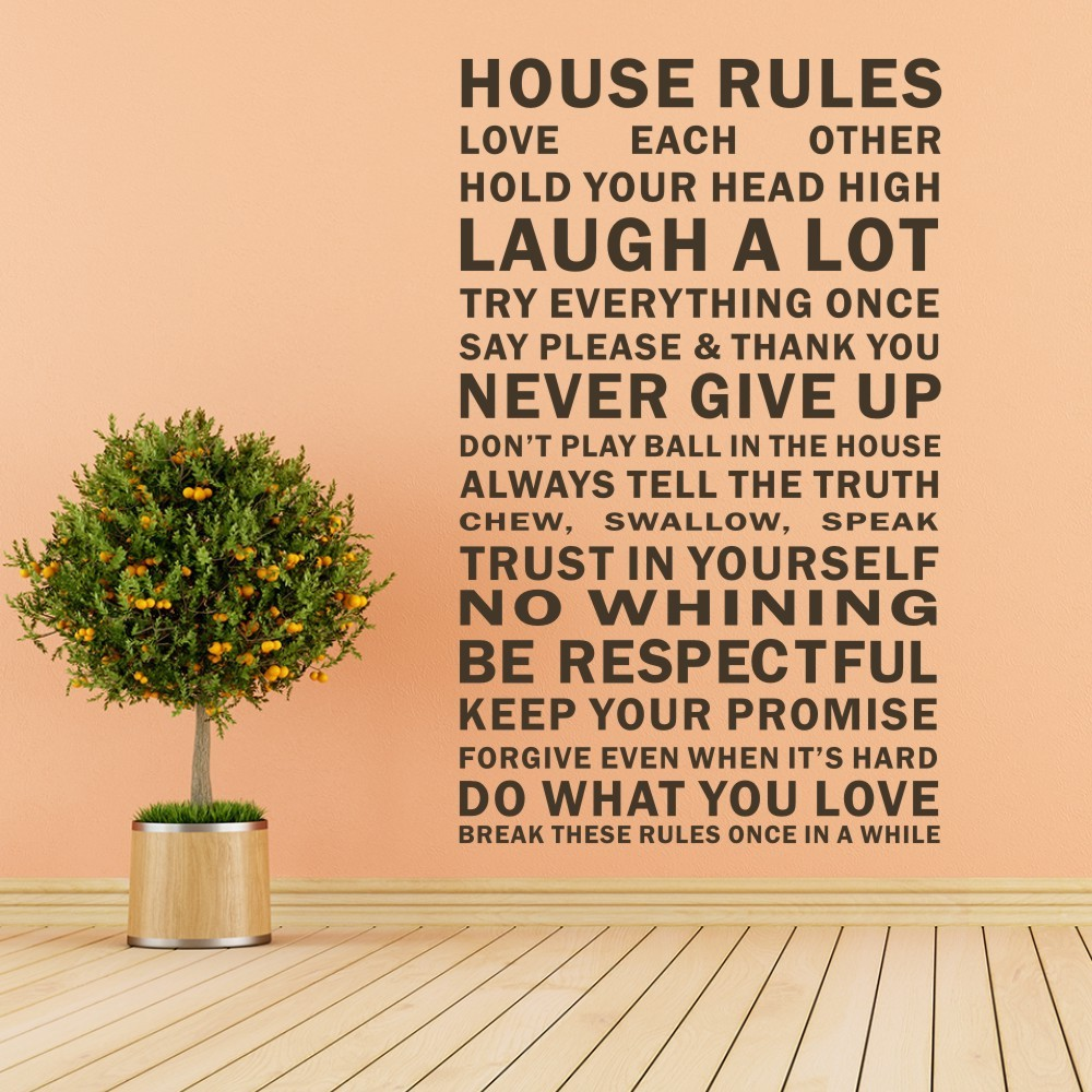 Online education quotes - House Rules Family Wall Stickers Education Wall Decals Quotes Vinyl Mural Poster 28 X