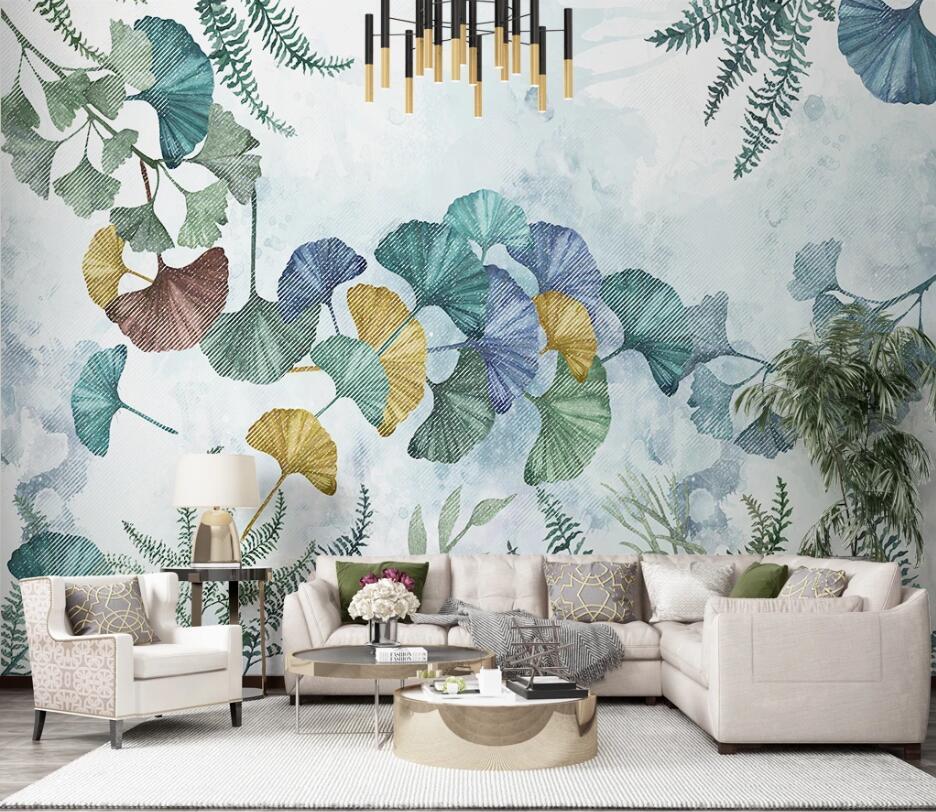 Private custom wallpaper mural modern plant ginkgo leaf hand-painted TV bedroom living room background wallpaper