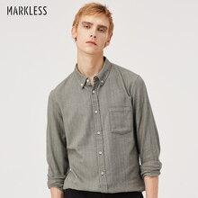 Markless, осенняя повседневная мужская рубашка, чистый хлопок, одноцветная рубашка с длинным рукавом, camisa masculina chemise homme CSA8522M