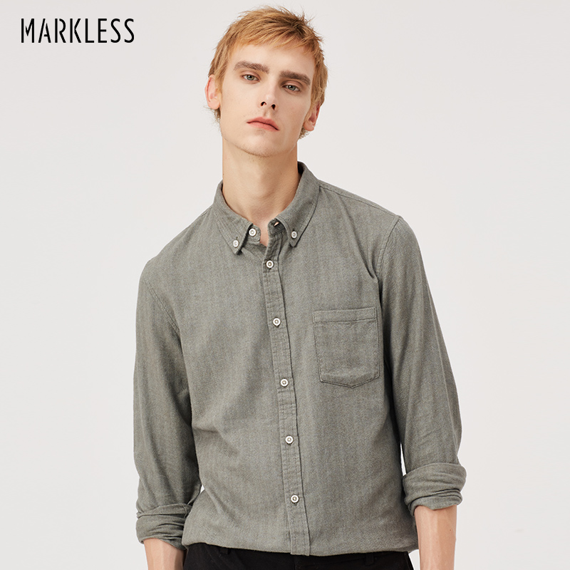 Markless 2018 Autumn Casual Men Shirt 100% Pure Cotton Solid Color Long Sleeve Shirts Camisa Masculina Chemise Homme CSA8522M