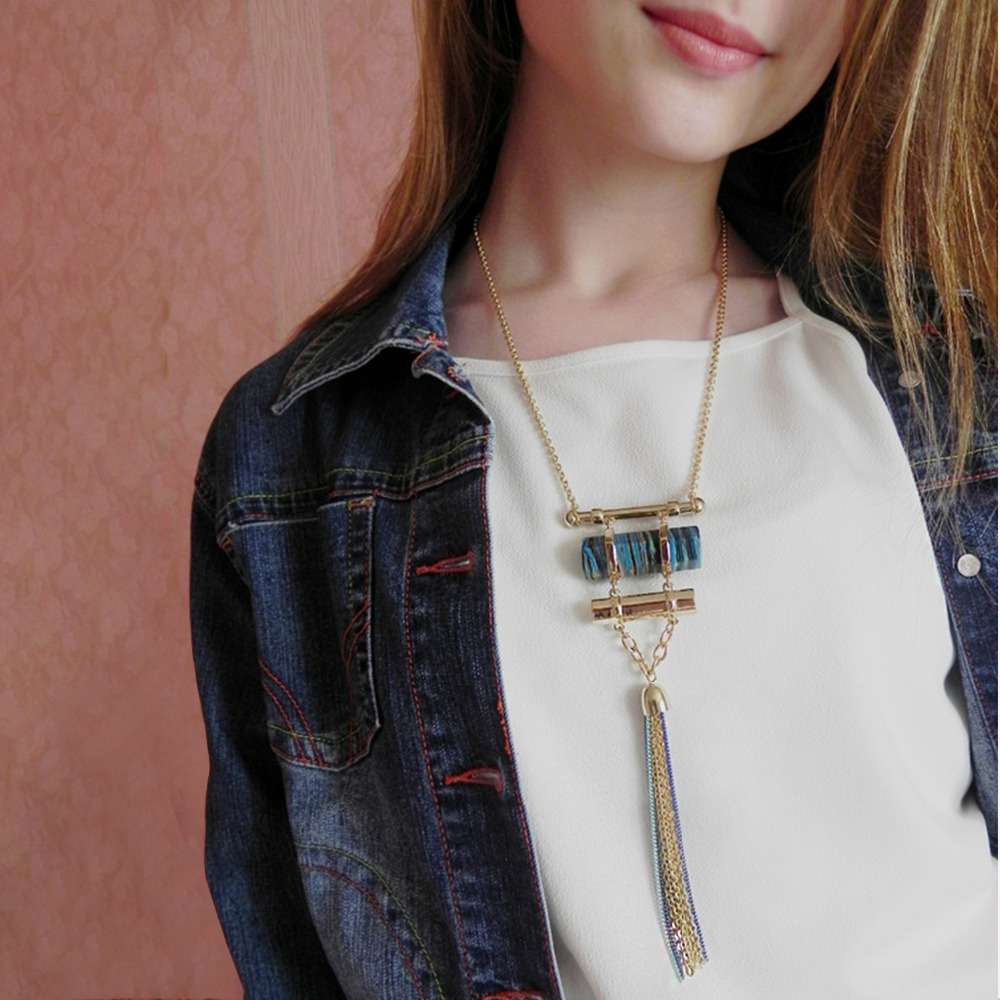 eManco statement long tassel necklace women with stone suspensions pendant geometric bohemian vintage necklace Jewelry 2087 nc 5364 women s bohemian style delicate floral necklace w pendant golden blue 26cm
