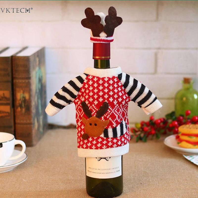 Christmas Deer Elk Red Champagne Wine Bottle Covers Bag for Christmas Decor Red
