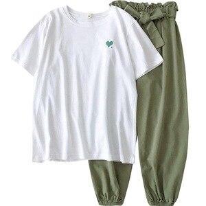 Image 4 - 2020 קיץ סתיו נשים שתי חתיכה סט למעלה ומכנסיים אימונית בתוספת גודל מועדון תלבושות מקרית לבן 2 סט חתיכה גבירותיי בגדים