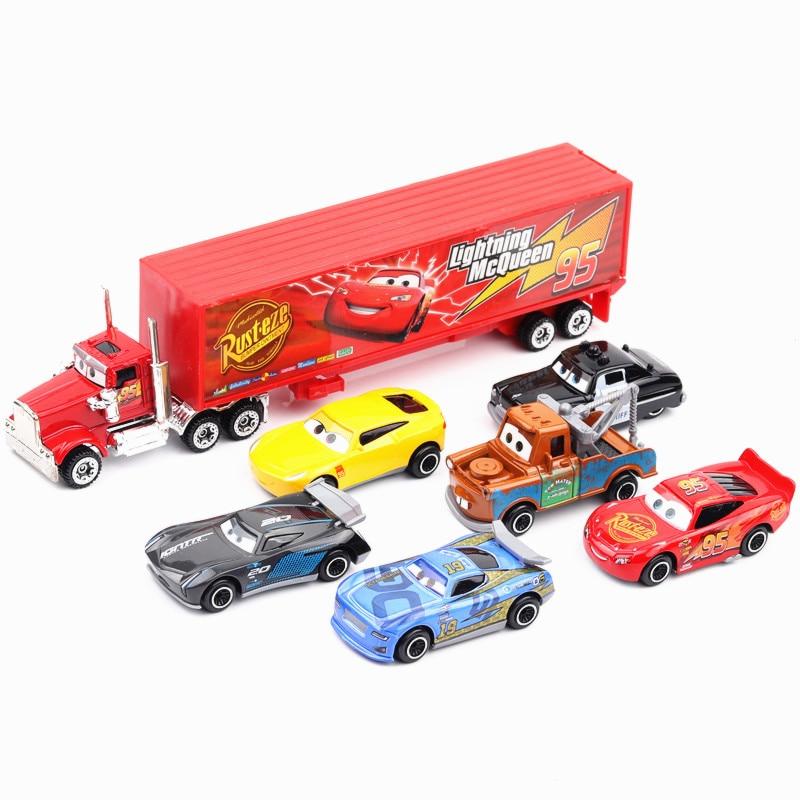Disney Pixar Car 3 McQueen Jackson Storm Cool Sister Mater Mack Truck 1:55 Die Casting Metal Plastic 7 Set Car Model Boy Toy