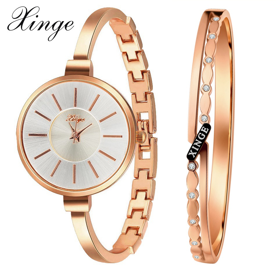 Xinge Brand Luxury Gold Bracelet Women Watches Set Fashion Crystal Dress Ladies Simple Clock Female Quartz Wristwatch Business xinge watch women brand rose gold white women japan movt big watches bracelet wristwatch set dress women ladies quartz watches