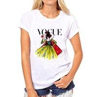 PH Brand Clothing T Shirt Women Tattoo Vogue Princess Print Cotton Casual Shirt For Lady White