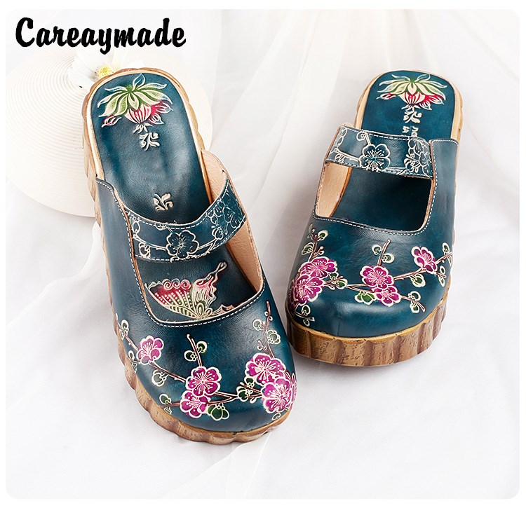 Careaymade-Folk style Head layer cowhide pure handmade Carved shoes,the retro art mori girl shoes,Women's fashion casual slipper huifengazurrcs new pure handmade casual