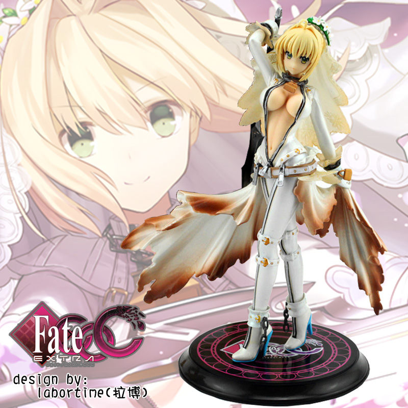 Anime PVC Garage Kits Fate/Extra Fgo CCC Bridal Gown of Bondage Saber Action Figure Model Toy 22 CM With BOX anime one piece dracula mihawk model garage kit pvc action figure classic collection toy doll