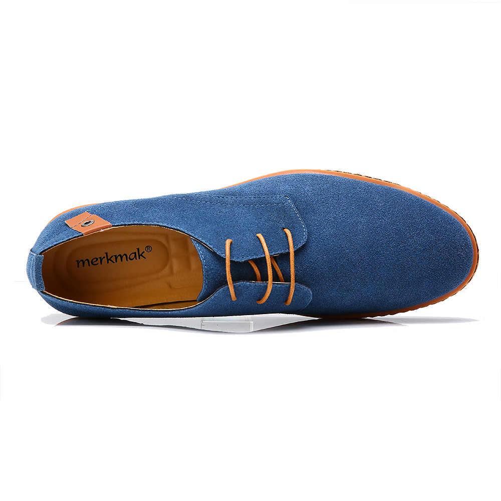 Merkmak Wildleder Männer Leder Schuhe Solide Lace-up Big Size 38-48 Casual Schuhe männer Wohnungen Komfortable kleid Schuhe Männlichen Weiche Schuhe