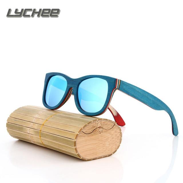 LYCHEE 2016 TOP Brand Designer men wood Sunglasses New Polarized Blue Skateboard Wood sunGlasses Original Box Retro Vintage Eyew