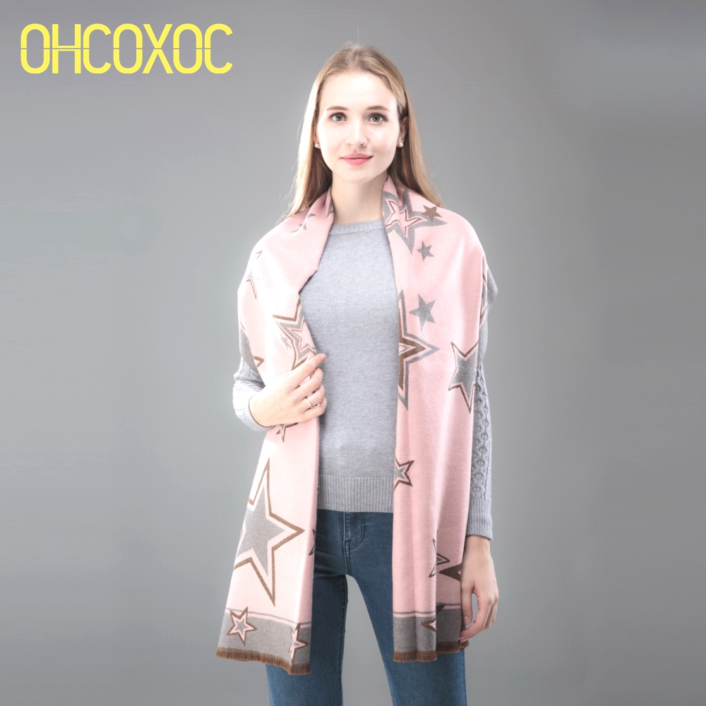 OHCOXOC Women Winter   Scarves     Wraps   Star Cashmere Warm   Scarves