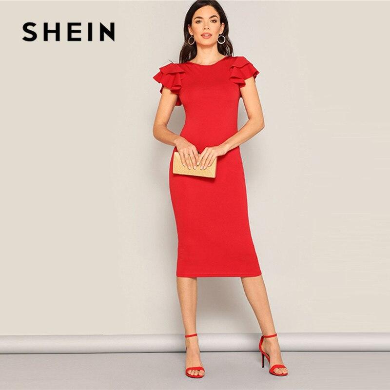 SHEIN rouge couches à volants manches entrecroisées dos moulante robe femmes été élégant sans manches solide mince robe de soirée Midi