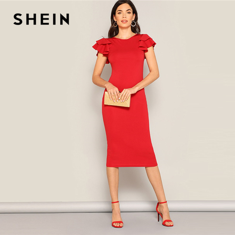 SHEIN Red Layered Ruffle Sleeve Crisscross Back Bodycon Dress Women Summer Elegant Sleeveless Solid Slim Midi Party Dress-in Dresses from Women's Clothing
