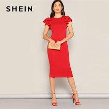 SHEIN czerwony warstwowe rękaw z falbankami powrót krzyżowe obcisła sukienka kobiety lato elegancki bez rękawów stałe slim, midi sukienka na imprezę
