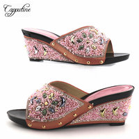 Capputine High Quality Italian Style Crystal Shoes Hot Sale African Rhinestone Woman Wedges Shoes Free Shipping