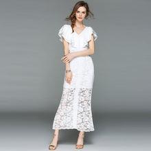 Европейское и американское платье с v образным вырезом оборками