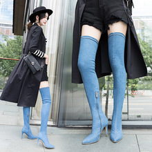 Autumn 2019 new womens boots high-heeled pointed knee-high cross-border shoes fashion denim elastic long Yasialiya