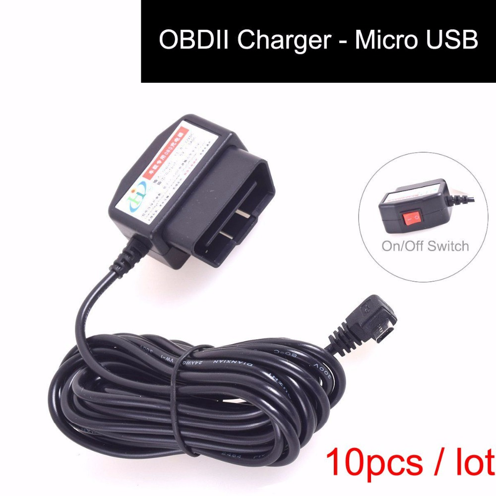 Obdii Charging Cable Micro Usb Power Adapter With Switch Button Samsung Ac Plug Wiring 10 Pcs Obd2 Connector Direct